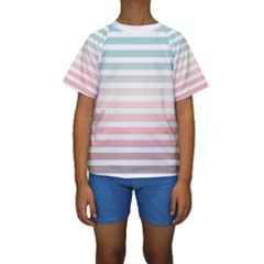 Horizontal Pinstripes In Soft Colors Kids  Short Sleeve Swimwear by shawlin