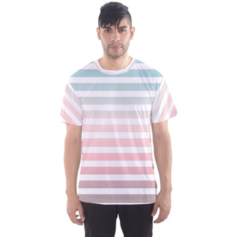 Horizontal Pinstripes In Soft Colors Men s Sports Mesh Tee by shawlin