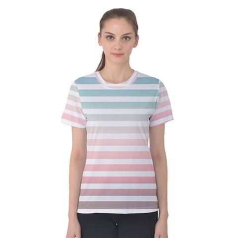 Horizontal Pinstripes In Soft Colors Women s Cotton Tee by shawlin