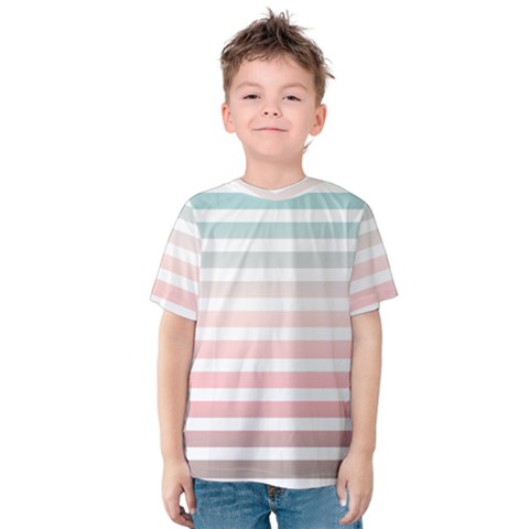 Horizontal Pinstripes In Soft Colors Kids  Cotton Tee by shawlin