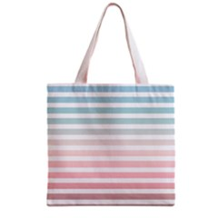 Horizontal Pinstripes In Soft Colors Grocery Tote Bag by shawlin