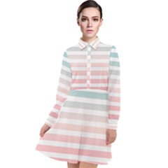 Horizontal Pinstripes In Soft Colors Long Sleeve Chiffon Shirt Dress by shawlin