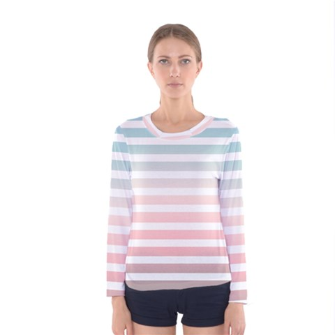 Horizontal Pinstripes In Soft Colors Women s Long Sleeve Tee by shawlin
