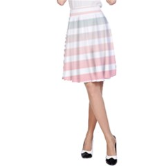 Horizontal Pinstripes In Soft Colors A Line Skirt by shawlin