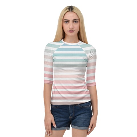 Horizontal Pinstripes In Soft Colors Quarter Sleeve Raglan Tee by shawlin