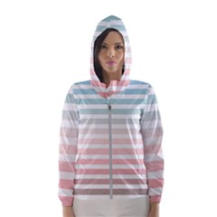 Horizontal Pinstripes In Soft Colors Women s Hooded Windbreaker by shawlin