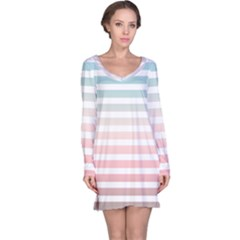 Horizontal Pinstripes In Soft Colors Long Sleeve Nightdress by shawlin