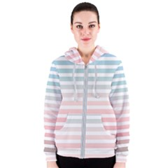 Horizontal Pinstripes In Soft Colors Women s Zipper Hoodie by shawlin