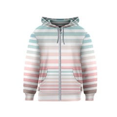 Horizontal Pinstripes In Soft Colors Kids  Zipper Hoodie by shawlin