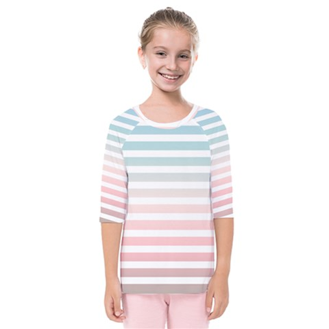 Horizontal Pinstripes In Soft Colors Kids  Quarter Sleeve Raglan Tee by shawlin