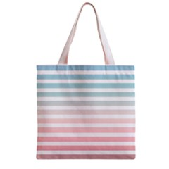 Horizontal Pinstripes In Soft Colors Zipper Grocery Tote Bag by shawlin