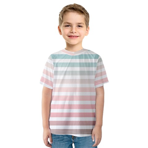 Horizontal Pinstripes In Soft Colors Kids  Sport Mesh Tee by shawlin