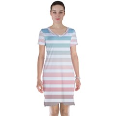Horizontal Pinstripes In Soft Colors Short Sleeve Nightdress by shawlin