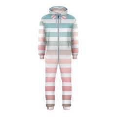 Horizontal Pinstripes In Soft Colors Hooded Jumpsuit (kids) by shawlin