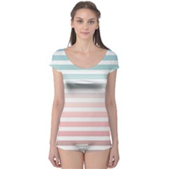 Horizontal Pinstripes In Soft Colors Boyleg Leotard  by shawlin