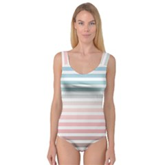 Horizontal Pinstripes In Soft Colors Princess Tank Leotard  by shawlin