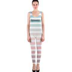 Horizontal Pinstripes In Soft Colors One Piece Catsuit by shawlin