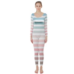 Horizontal Pinstripes In Soft Colors Long Sleeve Catsuit by shawlin