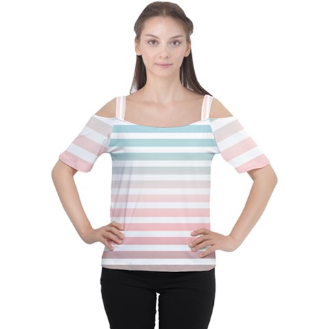 Horizontal Pinstripes In Soft Colors Cutout Shoulder Tee by shawlin