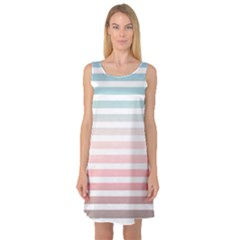 Horizontal Pinstripes In Soft Colors Sleeveless Satin Nightdress by shawlin
