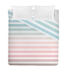 Horizontal Pinstripes In Soft Colors Duvet Cover Double Side (full/ Double Size) by shawlin