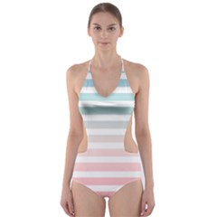 Horizontal Pinstripes In Soft Colors Cut Out One Piece Swimsuit by shawlin