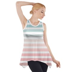 Horizontal Pinstripes In Soft Colors Side Drop Tank Tunic by shawlin