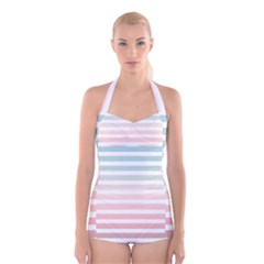 Horizontal Pinstripes In Soft Colors Boyleg Halter Swimsuit  by shawlin