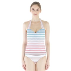 Horizontal Pinstripes In Soft Colors Halter Swimsuit by shawlin