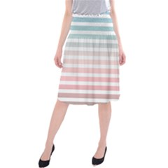 Horizontal Pinstripes In Soft Colors Midi Beach Skirt by shawlin