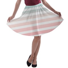 Horizontal Pinstripes In Soft Colors A Line Skater Skirt by shawlin