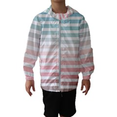 Horizontal Pinstripes In Soft Colors Kids  Hooded Windbreaker by shawlin