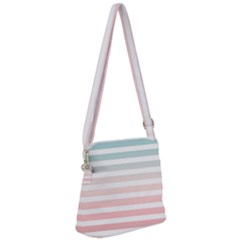 Horizontal Pinstripes In Soft Colors Zipper Messenger Bag by shawlin