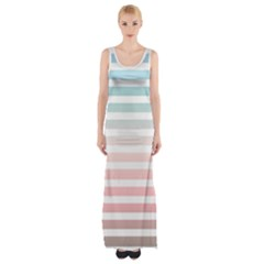 Horizontal Pinstripes In Soft Colors Maxi Thigh Split Dress by shawlin