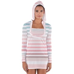 Horizontal Pinstripes In Soft Colors Long Sleeve Hooded T Shirt by shawlin