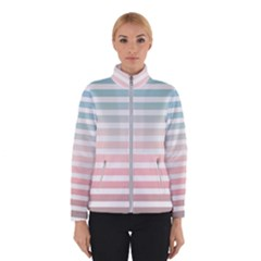 Horizontal Pinstripes In Soft Colors Winter Jacket by shawlin