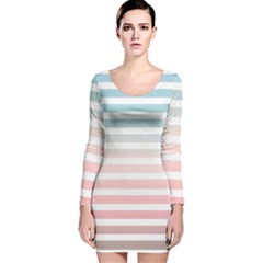 Horizontal Pinstripes In Soft Colors Long Sleeve Velvet Bodycon Dress