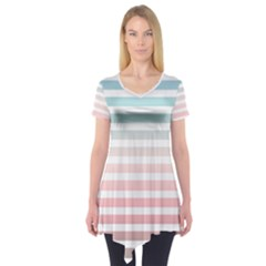 Horizontal Pinstripes In Soft Colors Short Sleeve Tunic  by shawlin