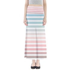 Horizontal Pinstripes In Soft Colors Full Length Maxi Skirt