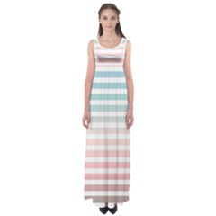 Horizontal Pinstripes In Soft Colors Empire Waist Maxi Dress