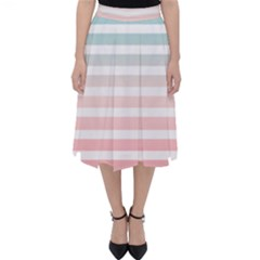 Horizontal Pinstripes In Soft Colors Classic Midi Skirt by shawlin