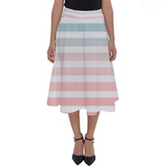Horizontal Pinstripes In Soft Colors Perfect Length Midi Skirt by shawlin