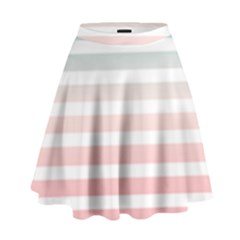 Horizontal Pinstripes In Soft Colors High Waist Skirt by shawlin