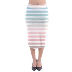 Horizontal Pinstripes In Soft Colors Midi Pencil Skirt by shawlin