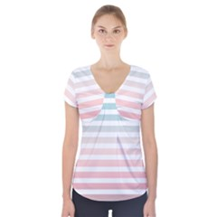 Horizontal Pinstripes In Soft Colors Short Sleeve Front Detail Top by shawlin