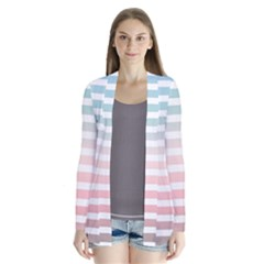 Horizontal Pinstripes In Soft Colors Drape Collar Cardigan by shawlin
