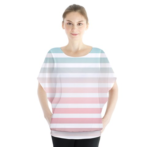 Horizontal Pinstripes In Soft Colors Batwing Chiffon Blouse by shawlin