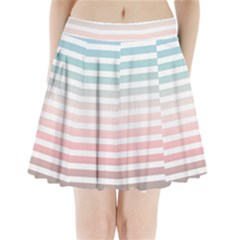 Horizontal Pinstripes In Soft Colors Pleated Mini Skirt by shawlin