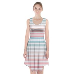 Horizontal Pinstripes In Soft Colors Racerback Midi Dress by shawlin