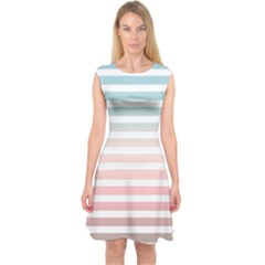 Horizontal Pinstripes In Soft Colors Capsleeve Midi Dress by shawlin